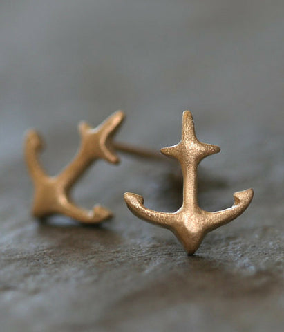 Anchor Stud Earrings 10K Gold -  Christian Jewelry