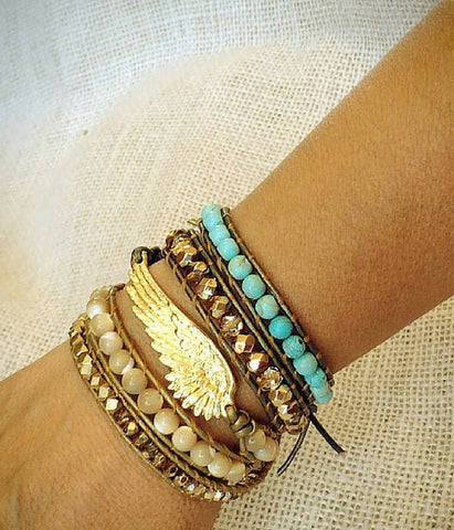 Angel Wing Wrap Turquoise Bracelet -  Christian Jewelry