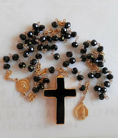 Black Onyx Rosary Necklace