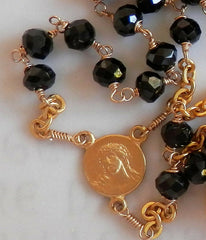 Black Onyx Rosary Necklace -  Christian Jewelry