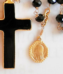Black Onyx Rosary Necklace - Christian Jewelry  - 2