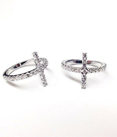 Genuine Diamond Sideways Cross Ring -  Christian Jewelry