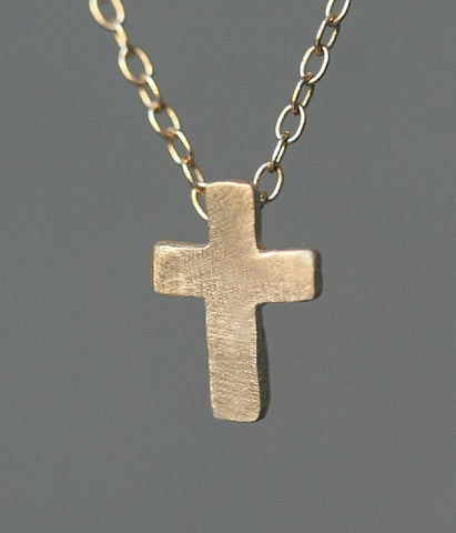 Small Cross 14K Gold Necklace