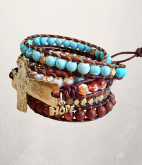 Faith Wrap Bracelet Turquoise -  Christian Jewelry