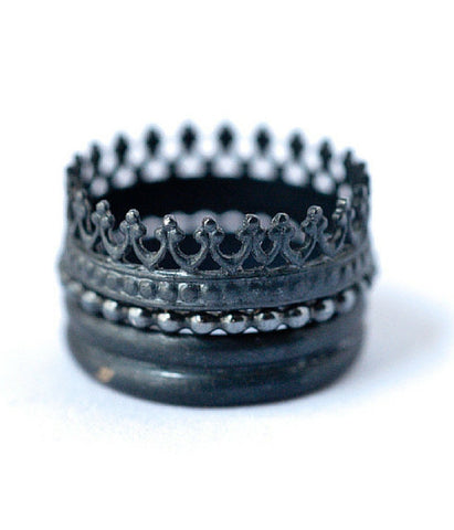 Oxydized Stackable Crown Ring