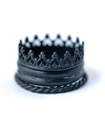 Oxydized Stackable Crown Ring -  Christian Jewelry