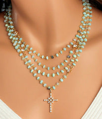 Layered Mint Rosary Necklace -  Christian Jewelry