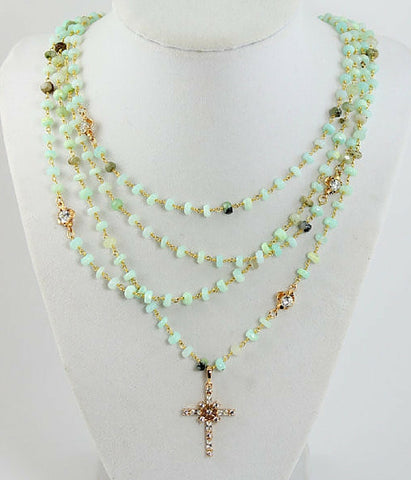 Layered Mint Rosary Necklace