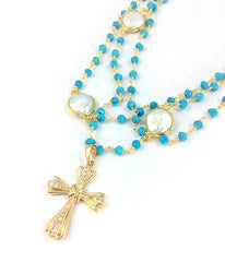 Layered Rosary Necklace -  Christian Jewelry