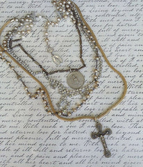 Vintage Multi-Stranded Religious Necklace - Christian Jewelry  - 2