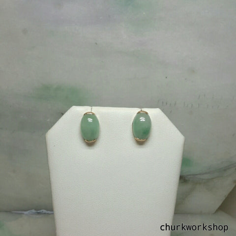 Light green jade cabochon 14K yellow gold ear studs
