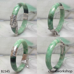 Green jade sterling silver hinge bangle