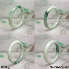 White base mix green jade bangle
