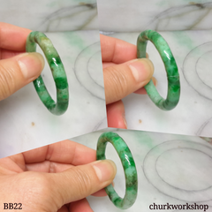 Baby carved green jade bangle