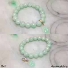 Light green beads jade bracelet with charm