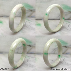 Pale green with splotches lavender jade bangle
