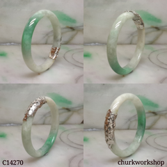 Silver wrapped jade bangle