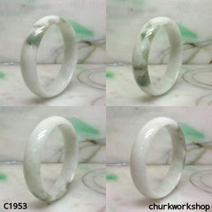 White base with bluish green jade bangle