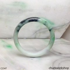 Light green with splotches dark green jade bangle
