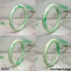 Reserved for jf1928    Light green with splotches apple green jade bangle