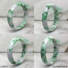 White base with splotches lavender & green jade bangle