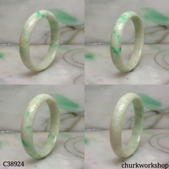 Small light green base with splotches apple green jade bangle