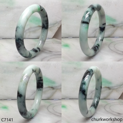 Large light green with splotches dark green jade bangle