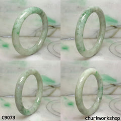 Large pea green mix lavender jade bangle