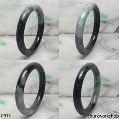 Large dark & light green jade bangle