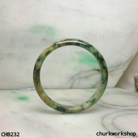Multi color jade bangle, red & green jade bangle (Fu Lu Shou)