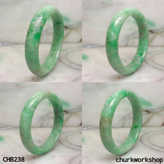 Green jade carved bangle