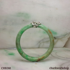 Small green jade silver wrapped bangle