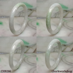 White base with splotches green jade bangle