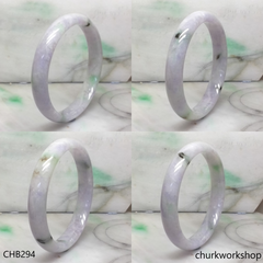 Extra large lavender mix green jade bangle