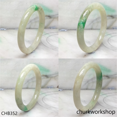 Pale green with splotches apple green jade bangle