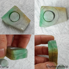 Reserved for Tuyen Custom cut tri-color jade ring