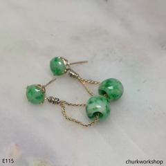 14k gold green jade earrings