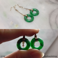 14K natural color jade earrings