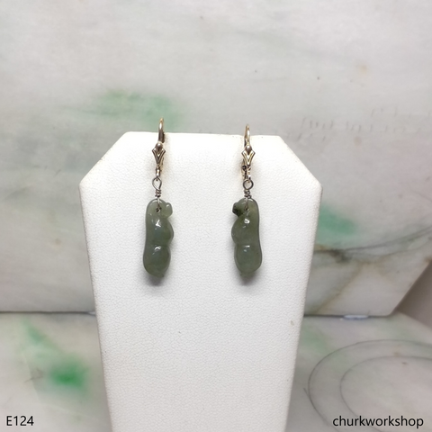 Dangling jade earrings set with 14k gold filled