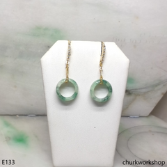 Round ring jade earrings 14K gold filled