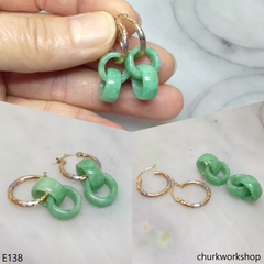 Green double jade ring dangling earrings