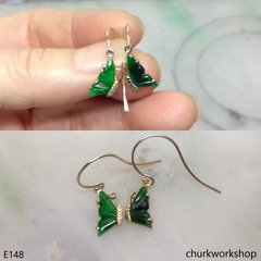 Green jade butterfly earrings 14K yellow gold