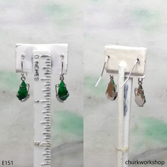 Green jade butterfly earrings 14K white gold