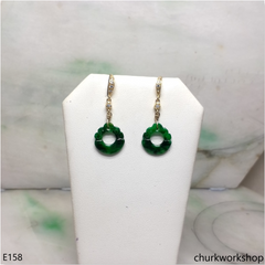 Dark green jade dangling earrings
