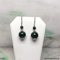 Dark green jade bead earrings sterling silver
