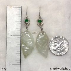 Pale green jade fish earrings