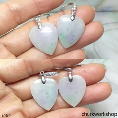 Lavender & green jade heart earrings