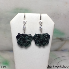 Dark green jade butterfly earrings
