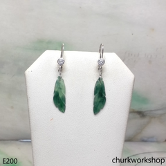 Bluish green jade leaf earrings