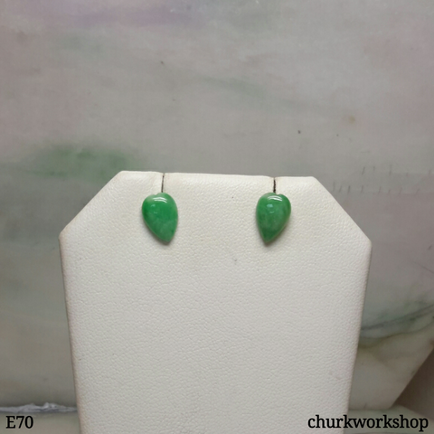 Green jade long heart ear studs
